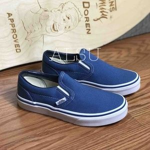 VANS Classic Slip On Navy White Kid's AUTHENTIC